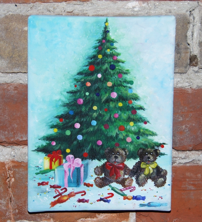 Christmas Tree with Gifts Acrylic Painting on Canvas by Christina