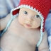 6-24m Cotton Mini Monkey Flap Hat Cherry with Aqua trim