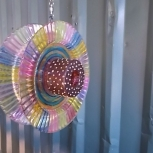 Glass Flower Spinner - Yard Art - Suncatcher - Recycled Glass Garden Art - Free-Spirit Decor (RS06)