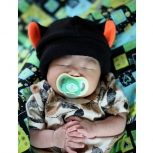Kids black and orange cat fleece HAT cosplay anime goth punk