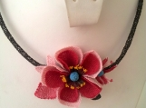 Pink and Red Rose Necklace,pink poppy choker,pink flower bib,