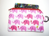 Pink Elephant handmade fabric zip purse id1330651
