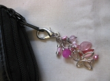 Pink Bead and Butterfly Charm Handbag Accessory