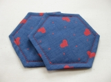 Blue Decorative Coasters with Red Hearts