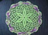"Lime Green/Lavender Doily-12.5"" Doily-Cotton Doily-Cindy's Loft"