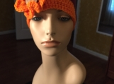 Orange and Burgundy Hat with Coconut Flower Button