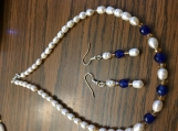 Natural Freshwater Pearl and Genuine Sapphire bead Jewelry Set