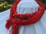 red yarn infinity scarf