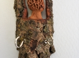 Carved Cottonwood Bark Morel with hooks