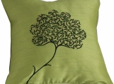 Green Tree, Embroidered Silk Decorative Pillow