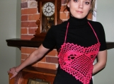 "Sexy ""Pink Heart"" Crocheted Valentine's Day Women's Top"