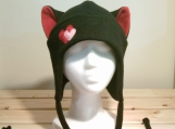 DEVIL BLACK / RED AVIATOR Valentine hearts earflap KITTY cat HAT