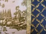 Soft Blue & Sage Green Victorian Toile Scene Standard or Queen Pillowcase
