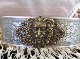 Bracelet-cuff , SS plate+ Metals w/ Dionysus-God of the Harvest