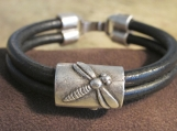 Bracelet-Leather with Dragonfly Feature Bead- *see color options