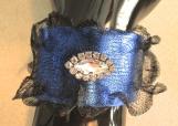 Bracelet, Electric Blue Leather and Black wire Mesh Bracelet