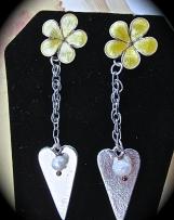 Earrings-Sterling Silver/Enameled Flower & Heart, Post style