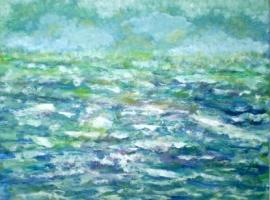 Ocean Colors, acrylic abstract, framed