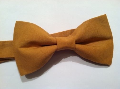 Mens, boys mustard yellow pre-tied bow tie with adjustable strap // Wedding bow tie
