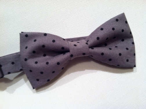 Mens/boys gray and black polka dot bow tie, Wedding bow tie.
