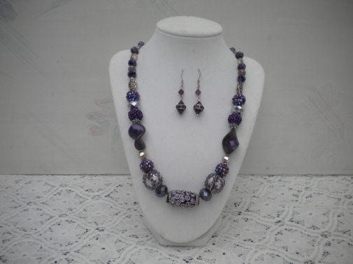 Royal Purple Beaded Necklace with earrings from Helen's Charms Unique Gifts