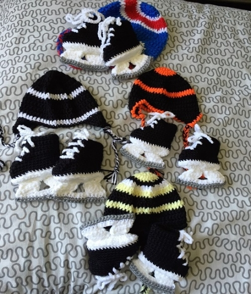 Baby Skate Booties and Hat from Patchworks on iCraft