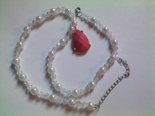 Pearls and Aurora Beaded Necklace with Pink Teardrop from Dawn's Creations on iCraft