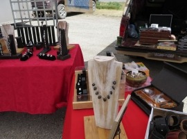 Arte Fact Jewels display at local farmers' market