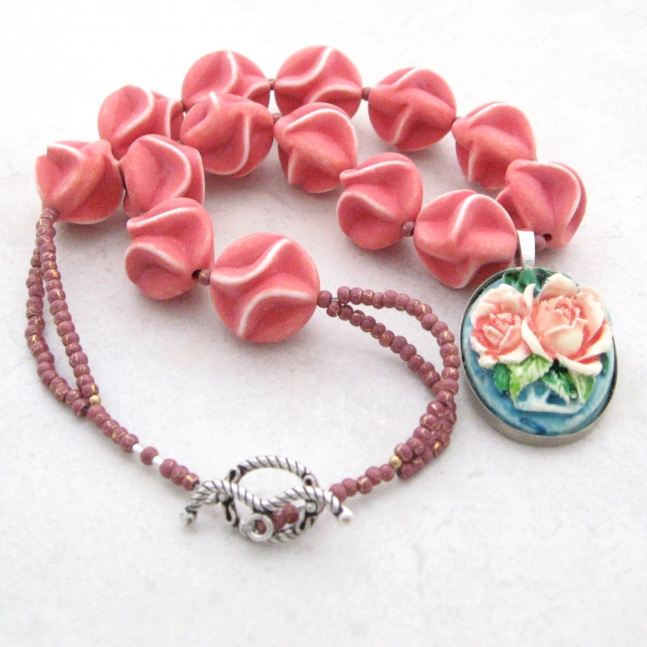 Pink Ruffles Vintage Floral Necklace.
