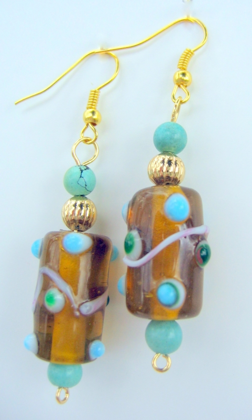 Golden Lampwork Beads and Turquoise Dangle Earrings.
