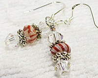 Sterling Silver Candy Cane Lampwork Bead & Crystal Earrings
