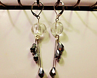Triple Dangle Earrings in Clear and Silver beads
