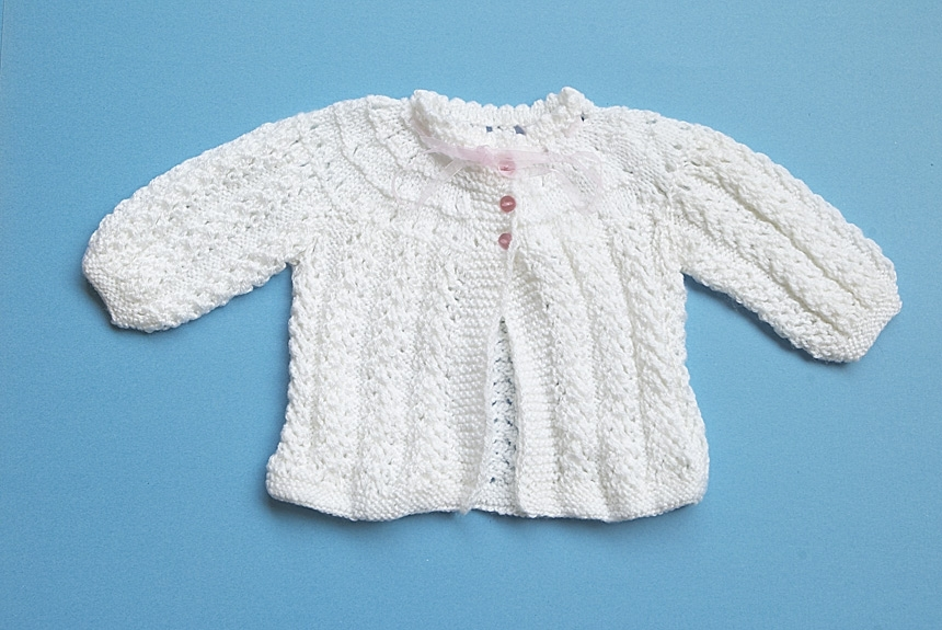 f0376849b953 Baby Girl Hand-Knitted Jacket (White by The Knitting Lady