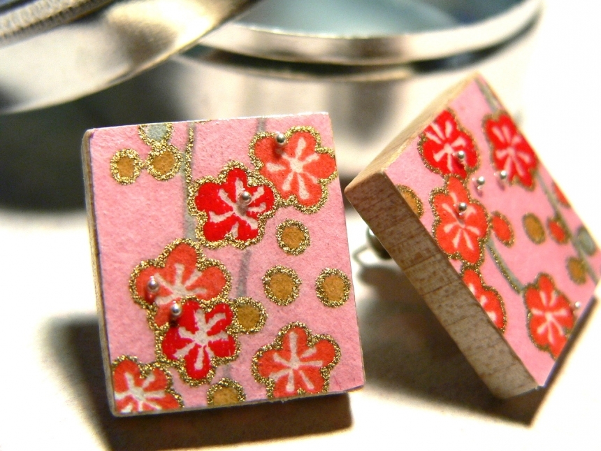 Cherry Blossom   Japanese Chiyogami Flower Paper Post Earrings  On Recycled  Scrabble Tile with Decorative Storage Tin   on sale