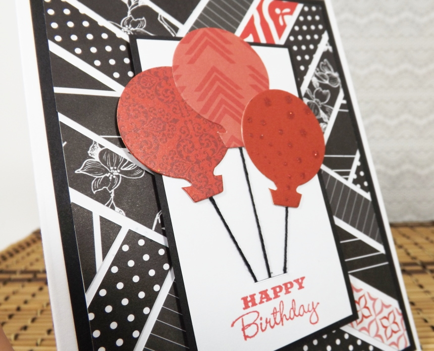 Balloons Birthday Card Mosaic Black White And Red