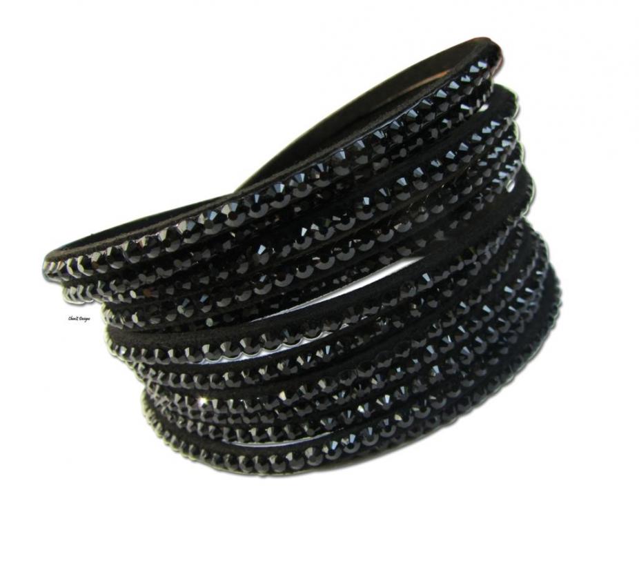 Swarovski Like Crystals P U Leather Wrap Bracelet