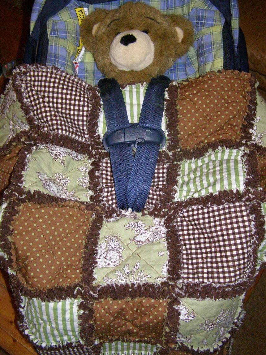 Custom Baby Car Seat Rag Quilt Cover You Pick Design