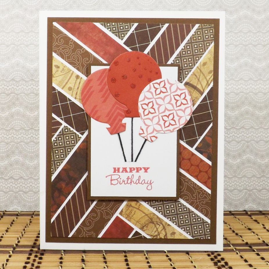 Balloon Birthday Card In Brown And Red By Fairy Cardmaker