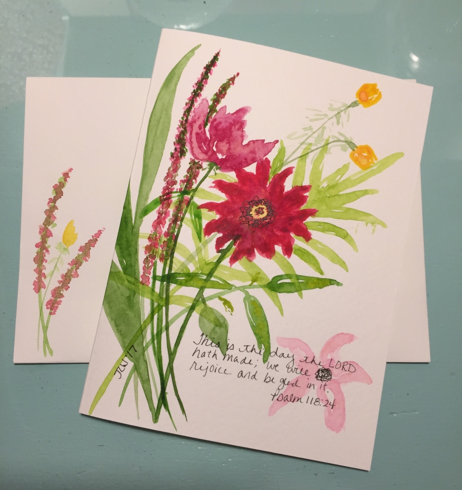 Floral Pinks Yellows Psalm 118 24 Hand Painted Greeting Card