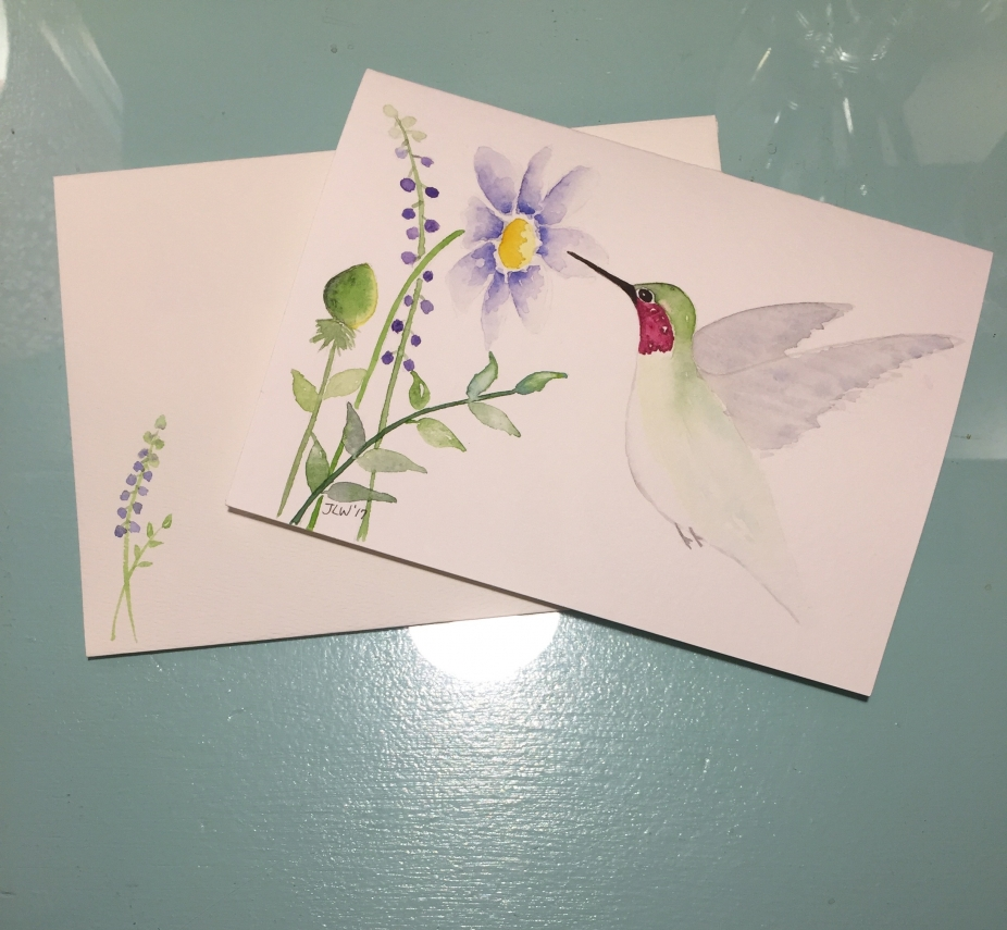 Hummingbird Watercolor Hand Painted Card By Daisy Art Studo