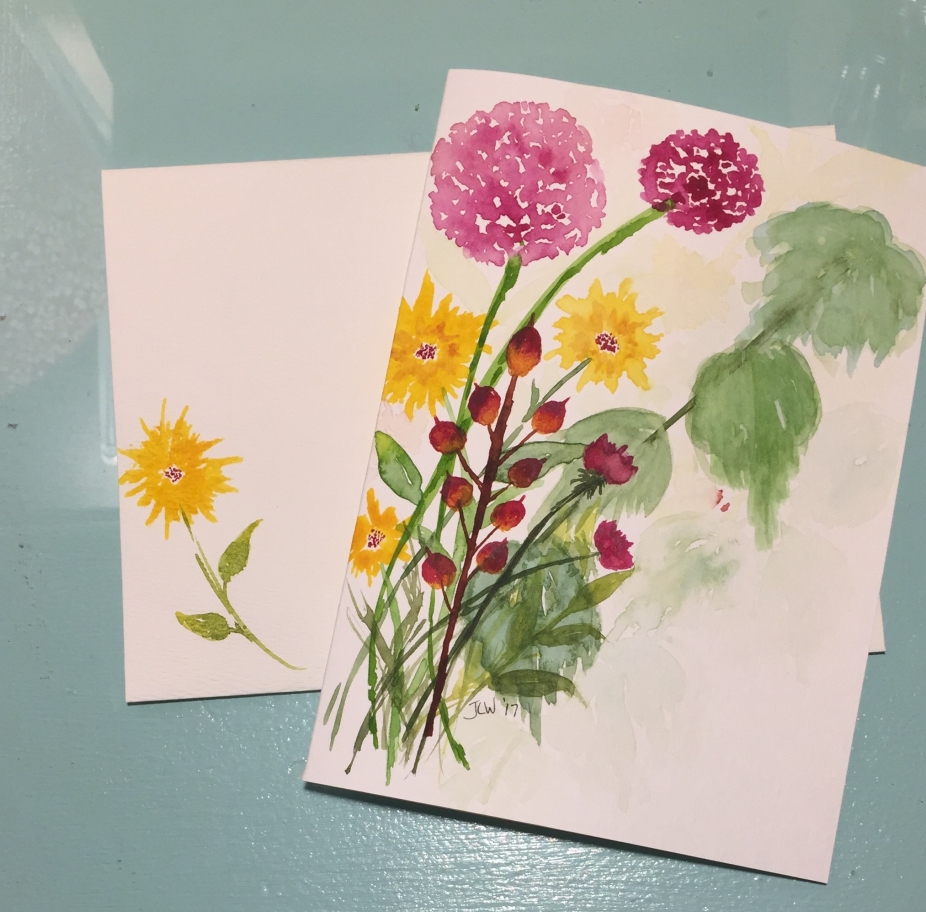 Pink Yellow Wildflowers Psalm 9 1 Hand Painted Greeting Card