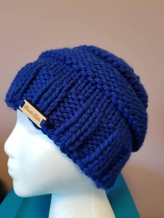 Chunky messy bun hat in royal blue acrylic by Nanette Knit Knacks