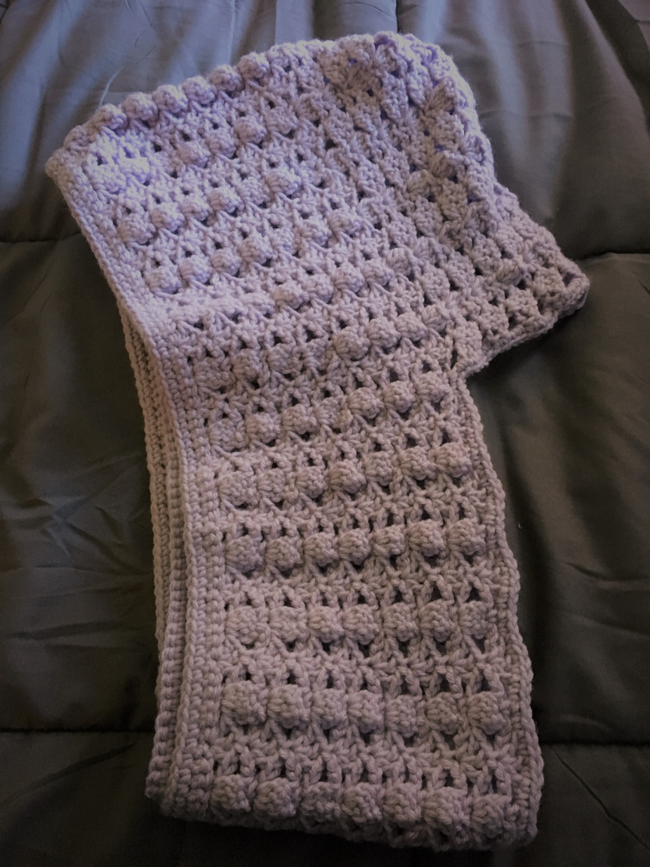Light Lavender Crocheted Hooded Scarf Includes A Free Gift