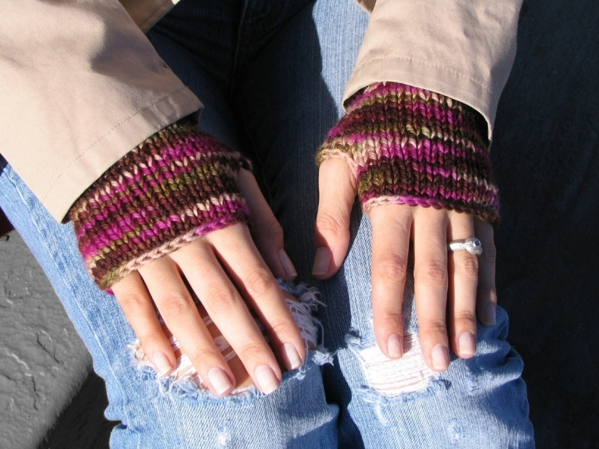 Delight Fingerless Mitts Pdf Knitting Pattern For Worsted Weight Yarn