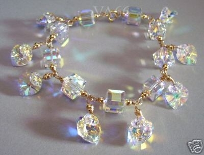 Handmade 14k Gold Filled Swarovski Crystal Ab Charm Bracelet Choice Of