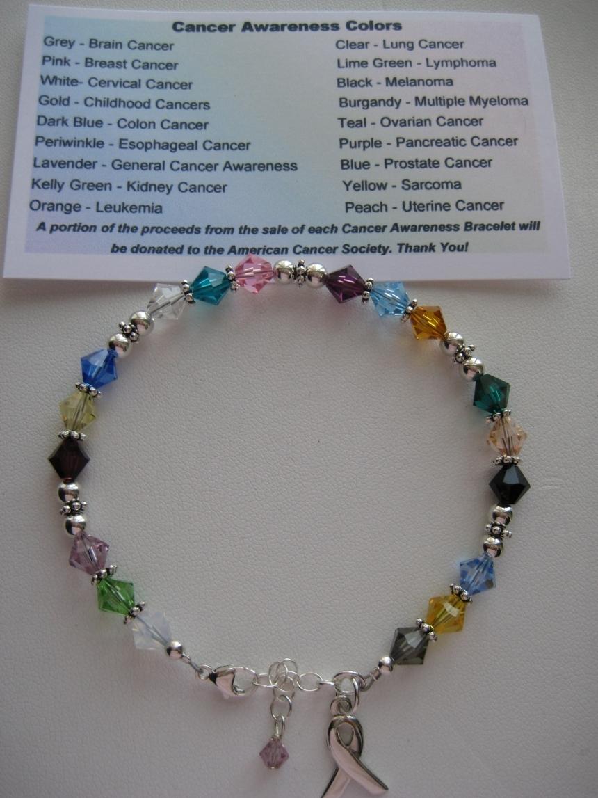 Swarovski Crystal/Sterling Silver All Cancer Awareness Bracelet