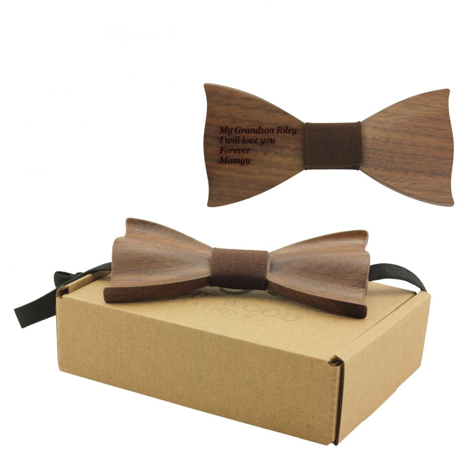 engraved solid pointed butterfly bowtie with brown cotton b1303