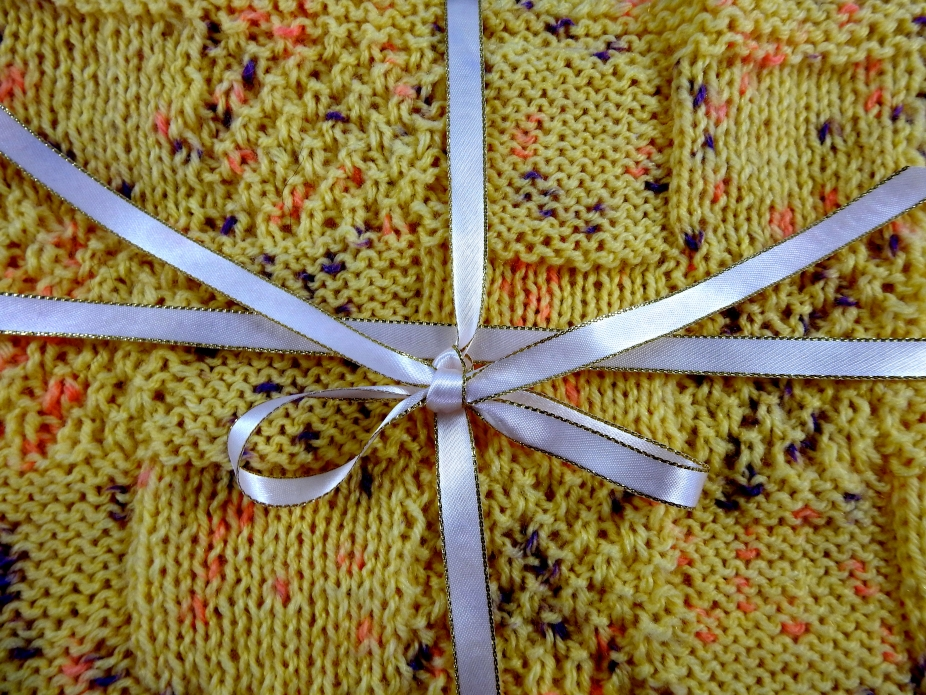 Knitted Patterned Yellow Baby Blanket With Coloured Flecks Amazing Patterned Blanket