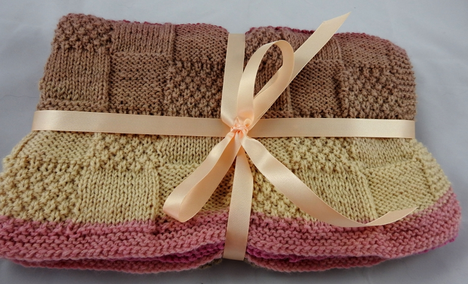Knitted Soft Patterned Baby Blanket In Pinks And Browns Delectable Patterned Blanket