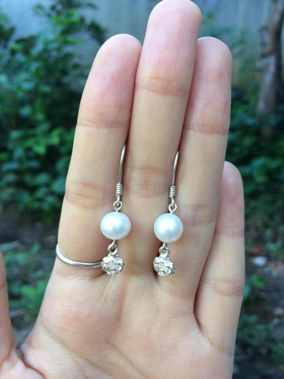 3fe1aa914 Freshwater pearl sterling silver earrings with silver flower